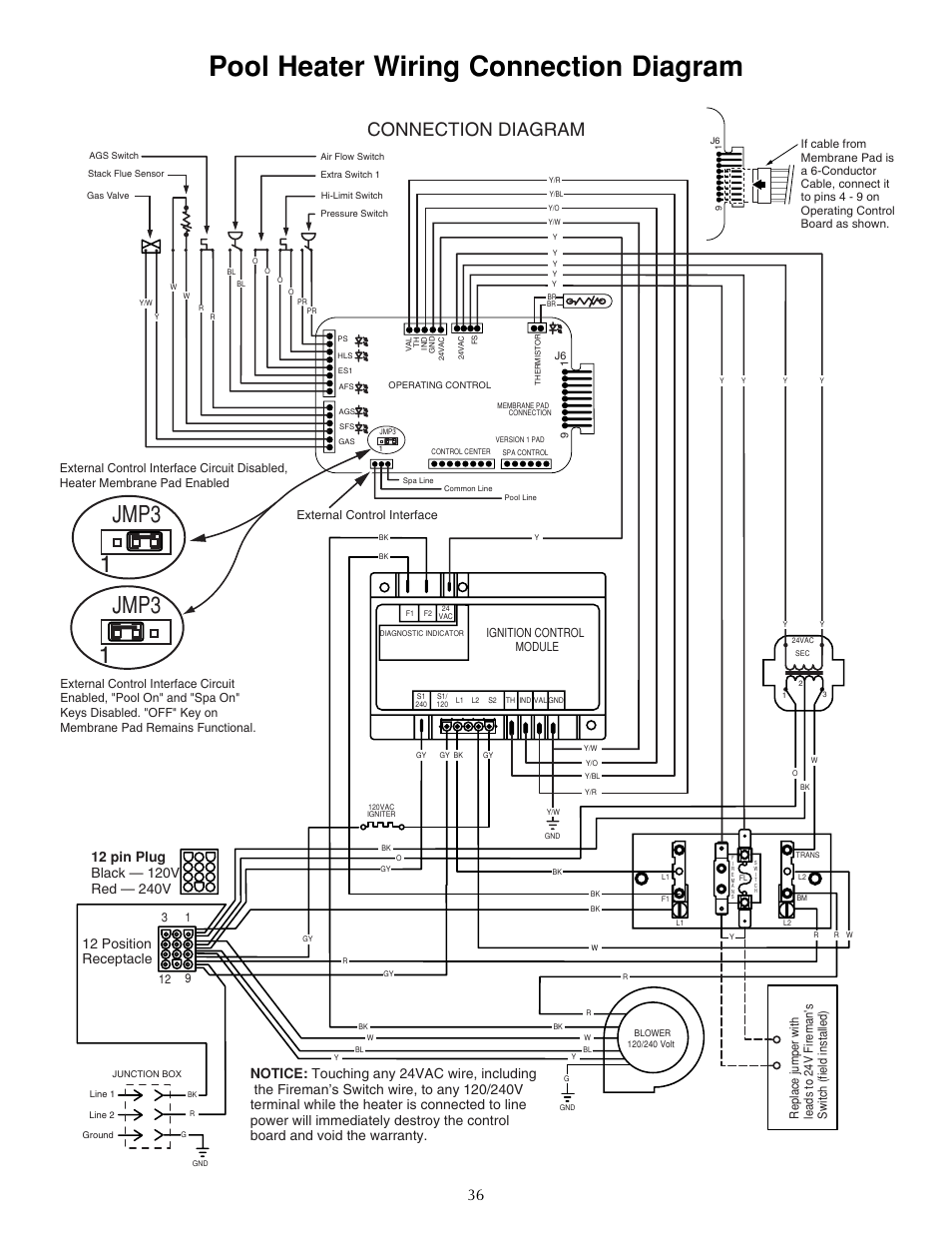pool heater wiring connection diagram  jmp3 1 jmp3 1