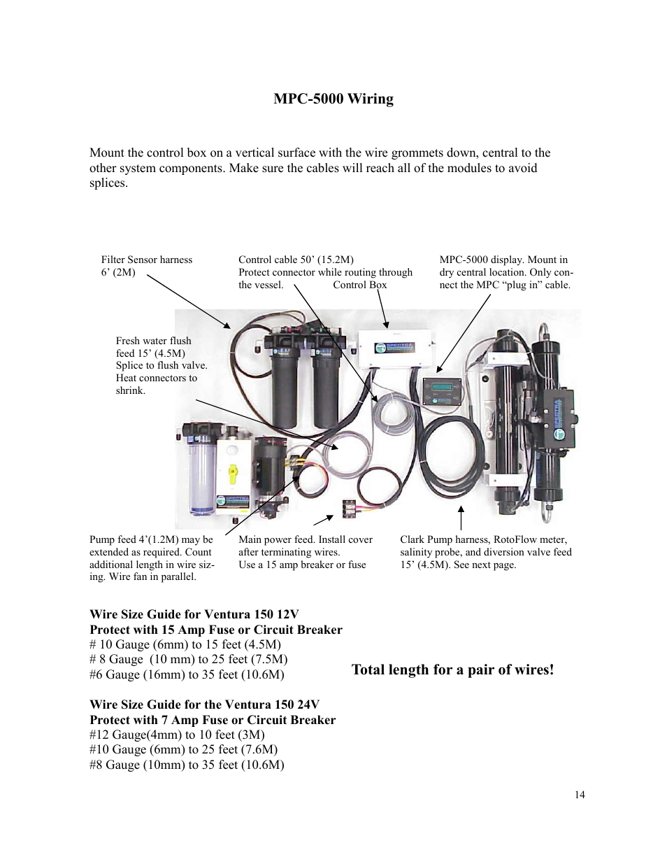 Mpc 5000 Wiring Total Length For A Pair Of Wires Spectra Automotive Grommets Watermakers Ventura 150 User Manual Page 14 54