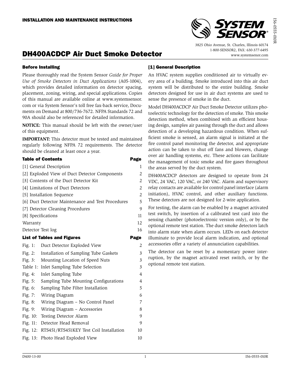 System Sensor Dh400acdcp User Manual