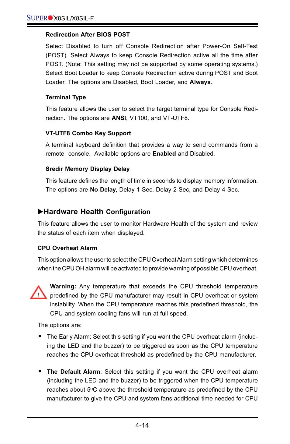 Hardware health | SUPER MICRO Computer X8SIL User Manual | Page 82 / 101