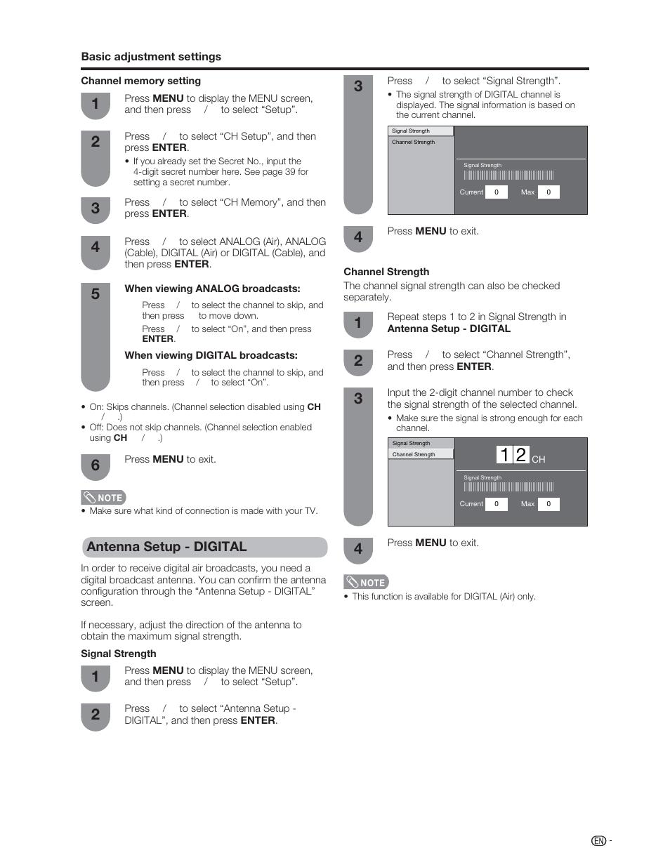 Antenna setup - digital | Sharp Aquos LC 46D62U User Manual