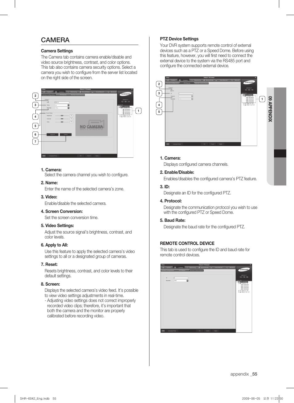 Camera | Samsung SHR-6040 User Manual | Page 59 / 96