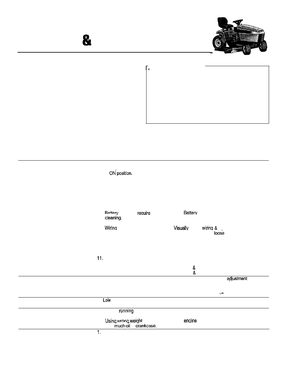 Troubleshooting Adjustment Service Simplicity Tractor Ignition Wiring Diagram The Warning 14hp