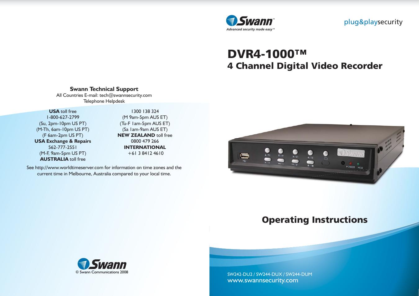 swann dvr4 1000 user manual 12 pages rh manualsdir com