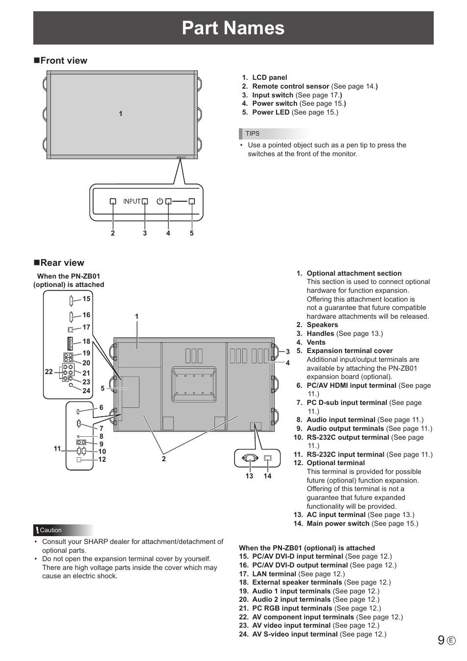Part names, Nfront view, Nrear view | Sharp PN-E802 User Manual | Page 9 / 56