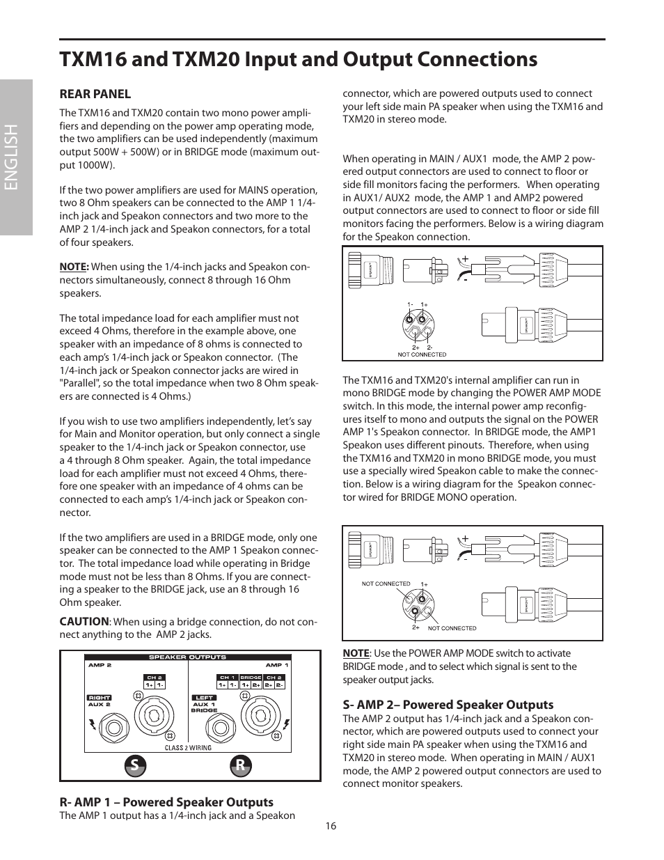 Rear Panel Txm16 And Txm20 Input Output Connections English Speakon Jack Wiring Samson User Manual Page 20 132