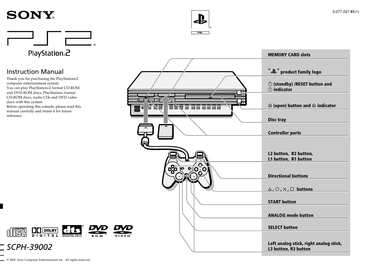 sony ps2 scph 39002 user manual 24 pages rh manualsdir com Sony Manuals PDF sony ps2 user manual pdf