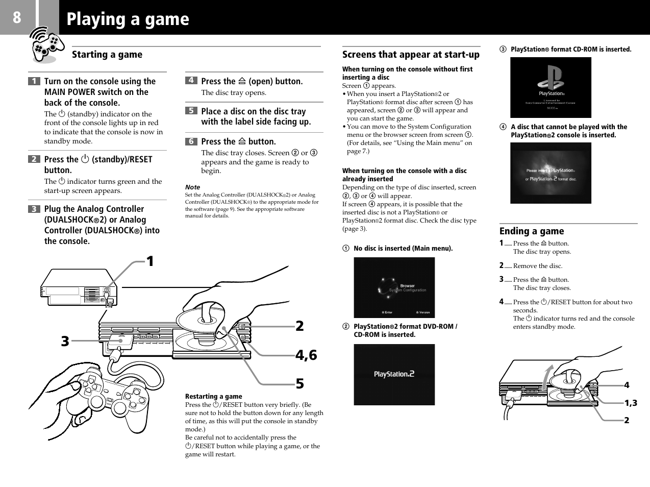 playing a game sony ps2 scph 39002 user manual page 8 24 rh manualsdir com Sony Wireless Headphones Manual Sony Manuals PDF