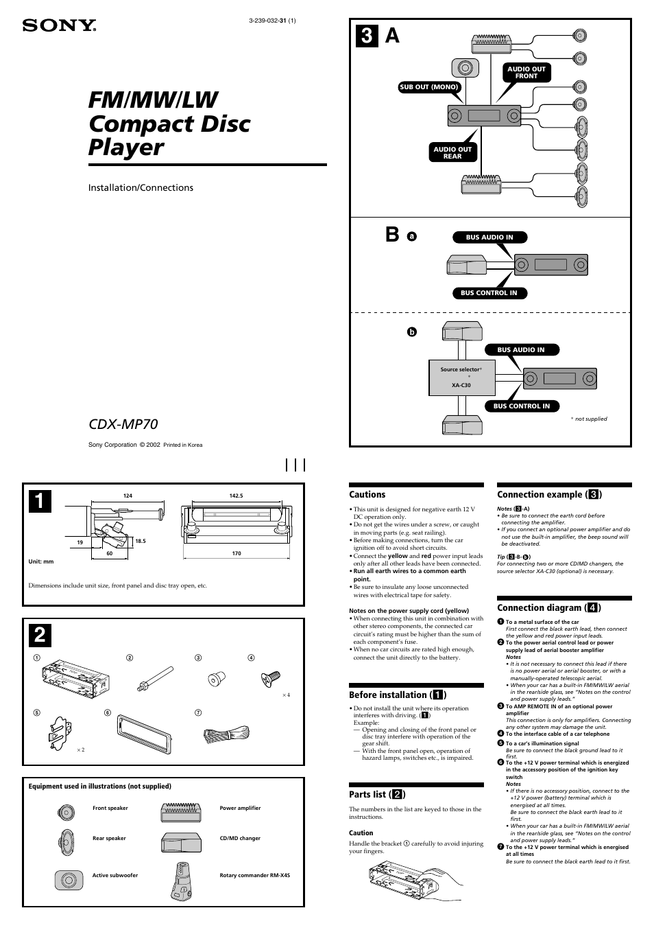 Sony CDX-MP70 User Manual | 4 pages on