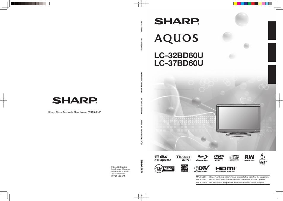 sharp aquos lc 37bd60u user manual 65 pages original mode rh manualsdir com sharp aquos 65 inch 4k tv manual sharp aquos 65 smart tv manual