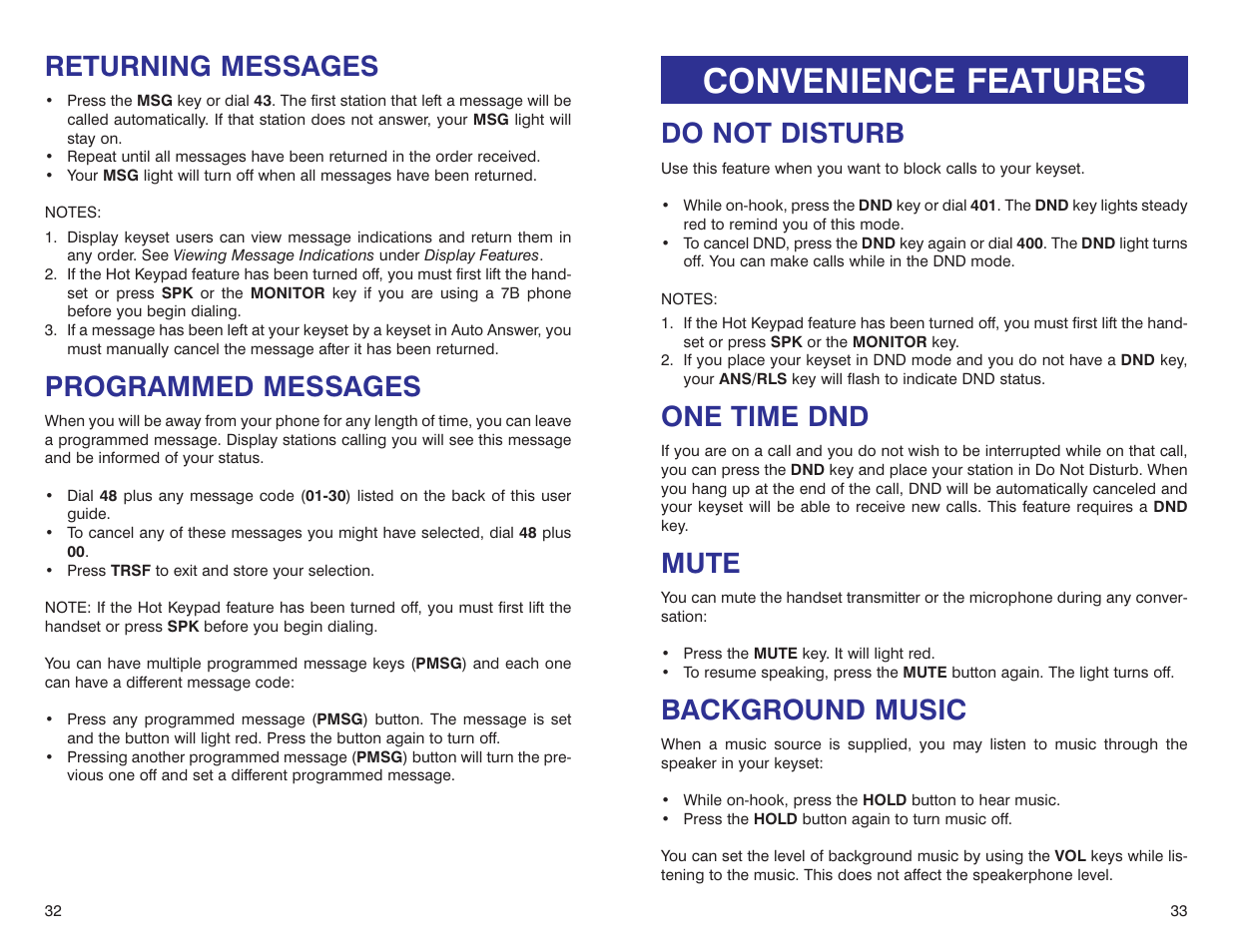 convenience features returning messages programmed messages rh manualsdir com samsung dcs keyset user guide samsung dcs compact user guide