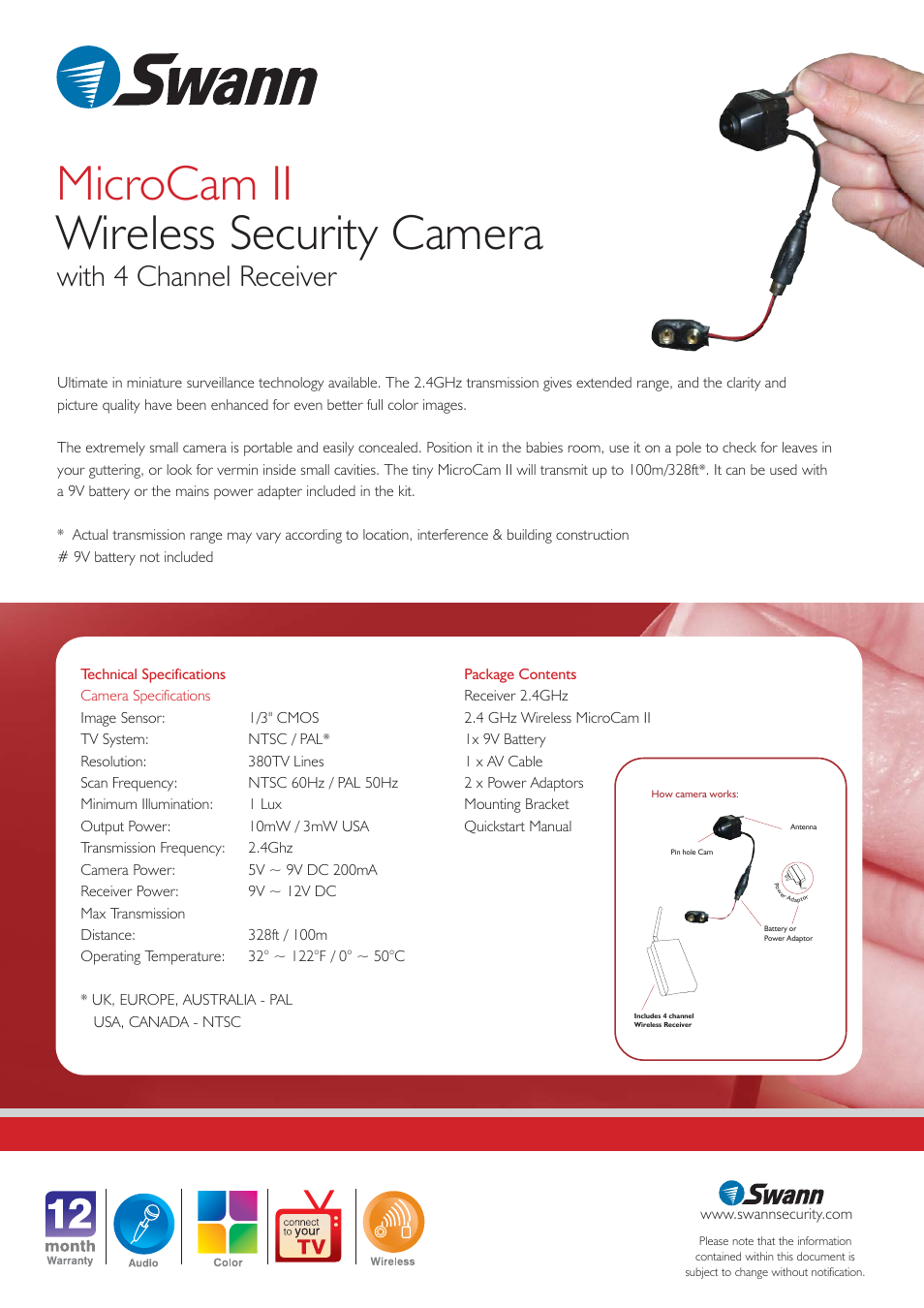 microcam ii wireless security camera with 4 channel receiver rh manualsdir com