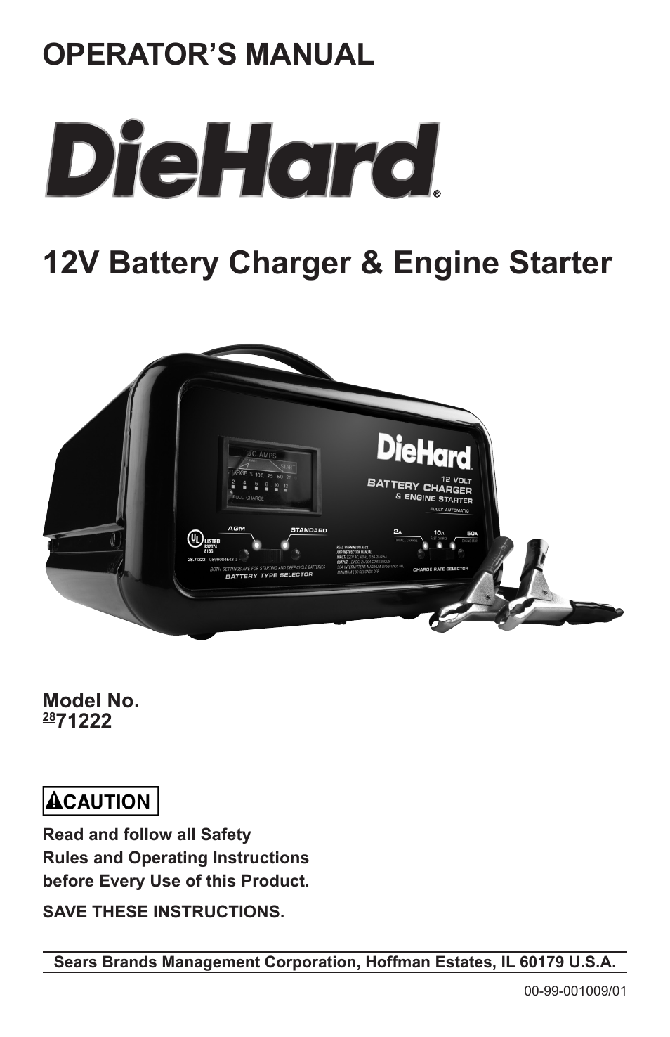 sears 12v battery charger engine starter 2871222 user manual 13 rh manualsdir com sears diehard 10 2 50 amp automatic battery charger manual Sears Auto Parts Battery