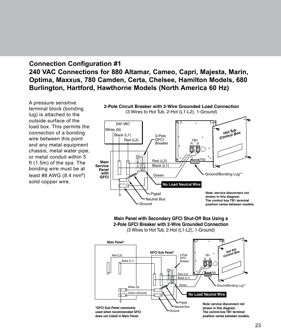 Sundance Chelsee Wiring Diagram And Schematics Spa Gfci Spas Source Connection Configuration 1 Solid Copper Wire 880 Series User Manual Page 25 32