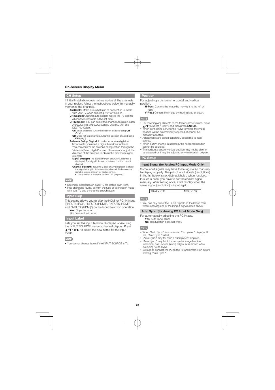 Ch setup, Input skip, Input label | Sharp AQUOS LC-40D68UT