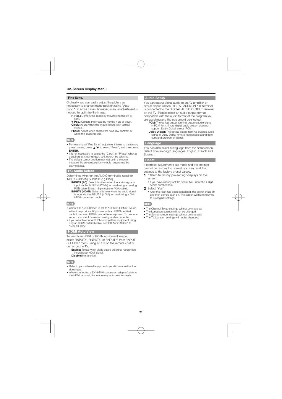 Pc audio select, Hdmi auto view, Audio setup | Sharp AQUOS