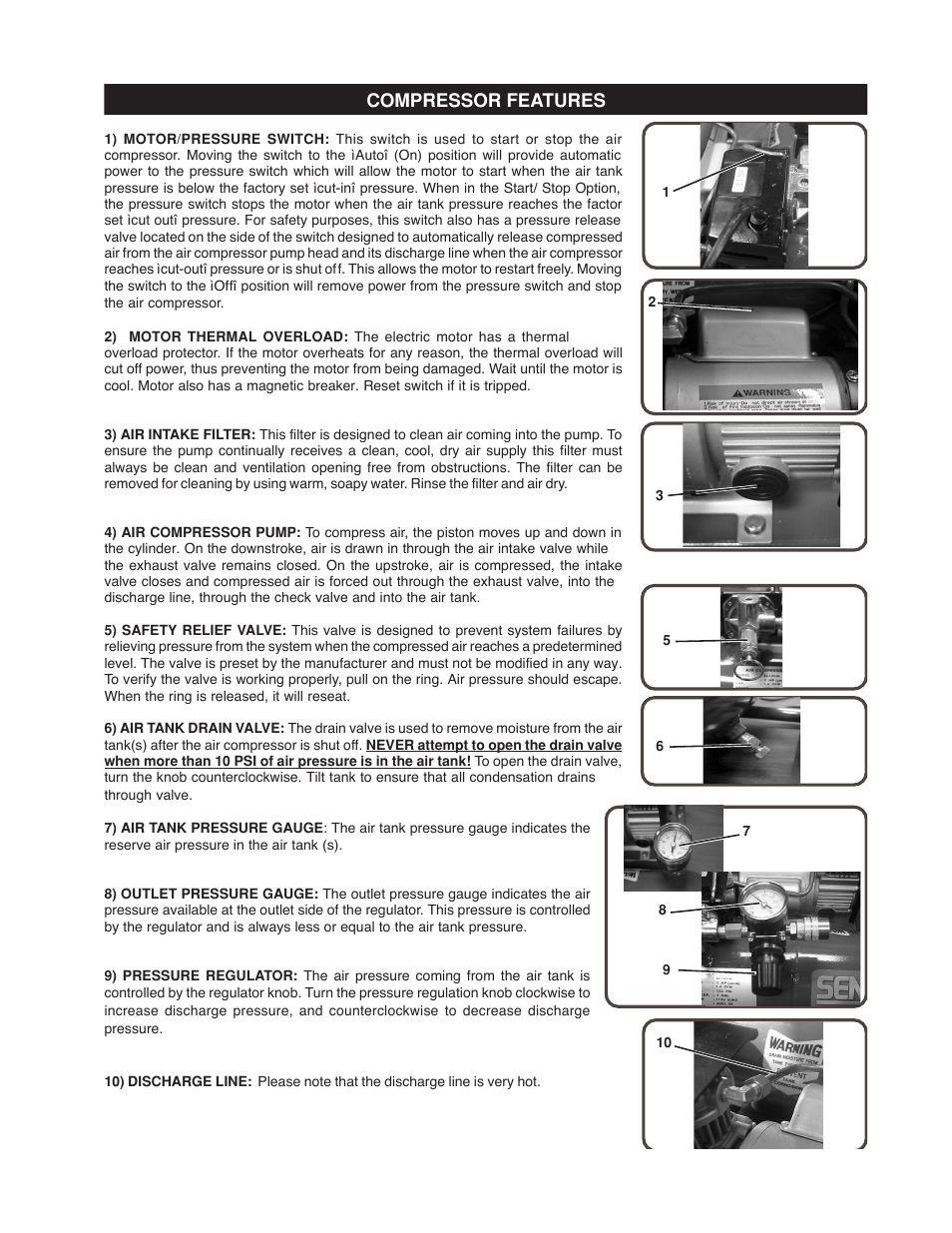 Compressor features | Senco PC1010 User Manual | Page 9 / 16