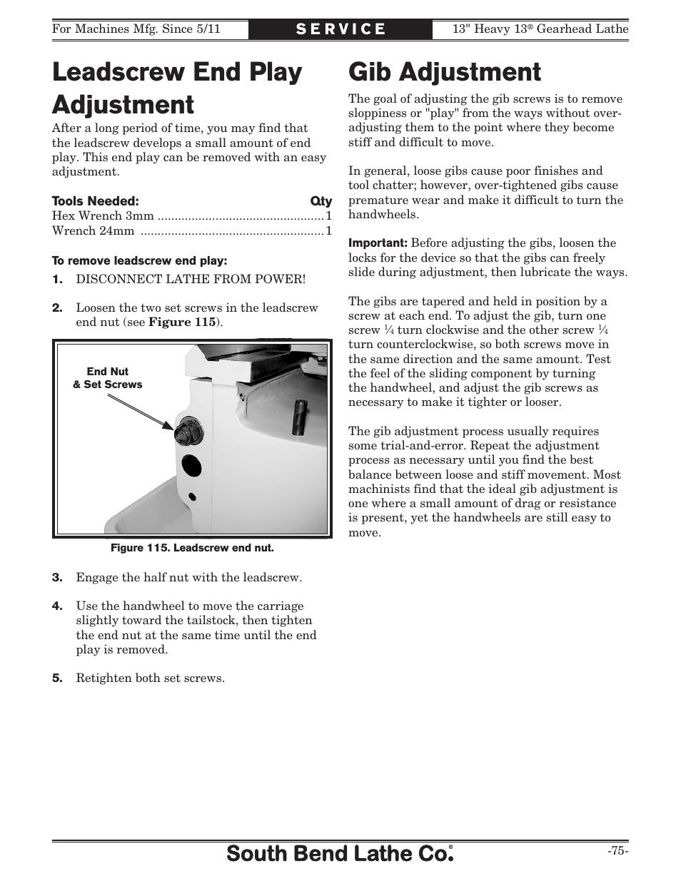 Gib adjustment, Leadscrew end play adjustment | Southbend 13