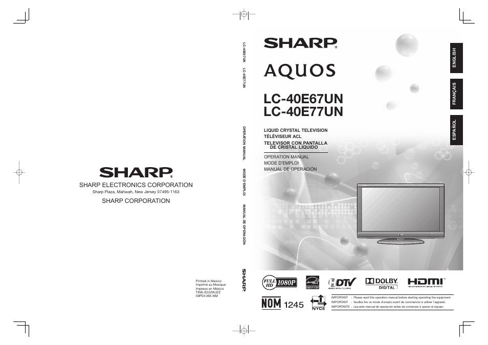 sharp aquos lc 40e77un user manual 47 pages also for lc 40e67un rh manualsdir com Sharp AQUOS Wall Mounted TV Acqua's Sharp