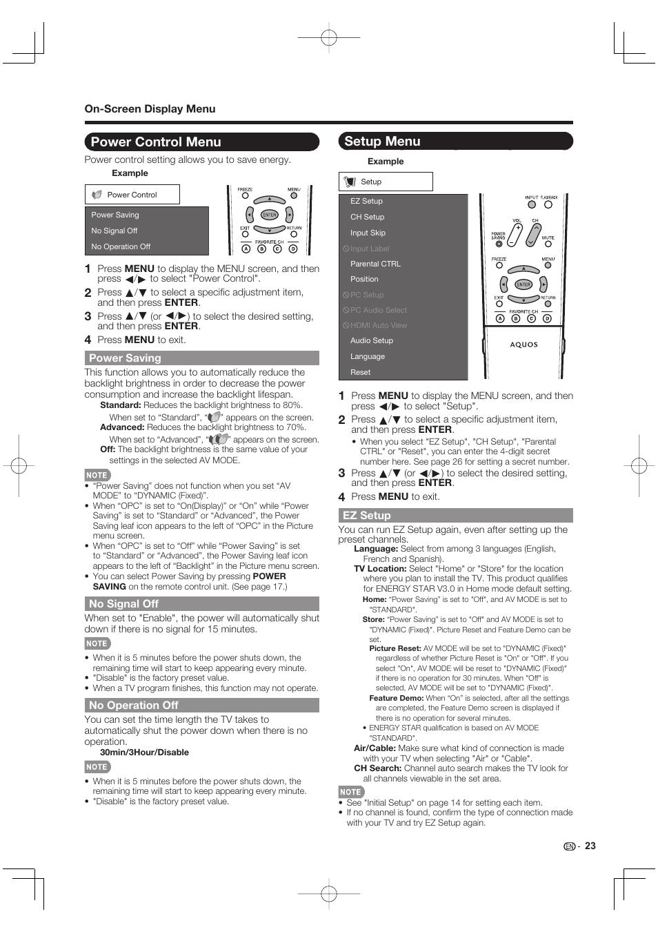 Power control menu, Power saving, No signal off   Sharp