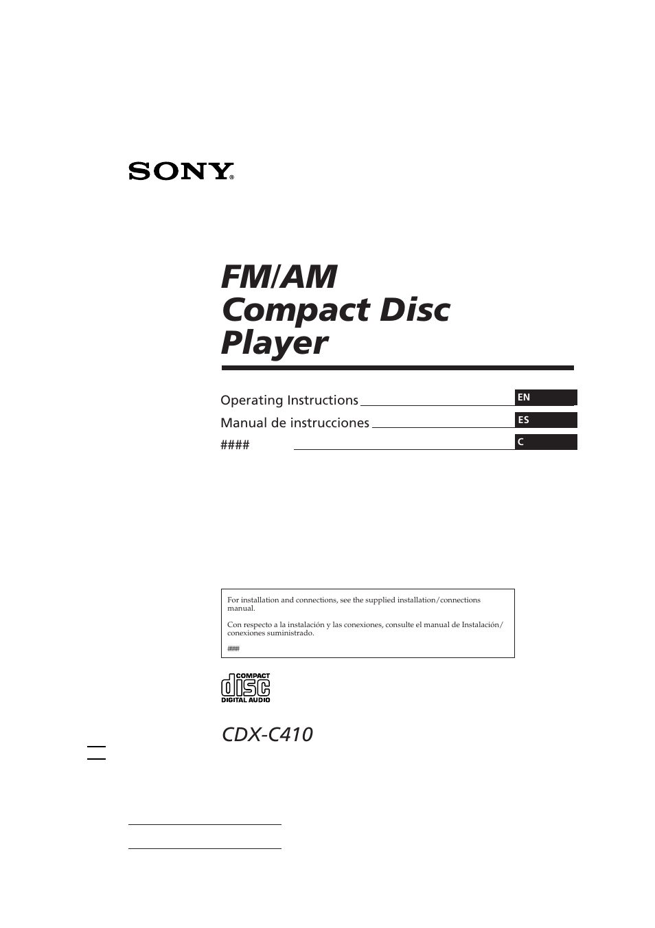 sony cdx c410 user manual 43 pages