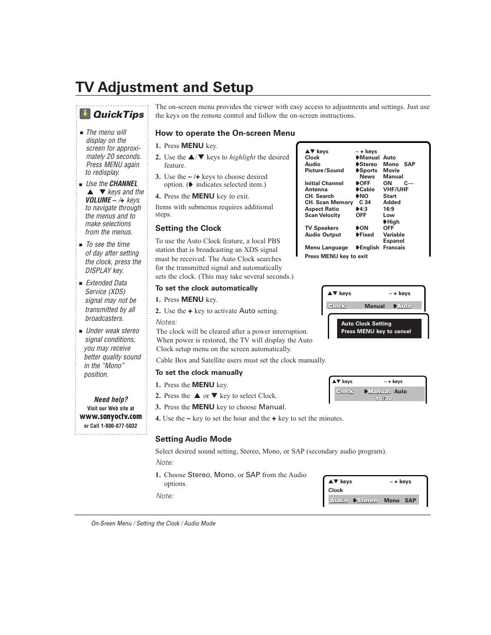 tv adjustment and setup quicktips sanyo ds27930 user manual rh manualsdir com Sanyo TV Model Sanyo Model Numbers