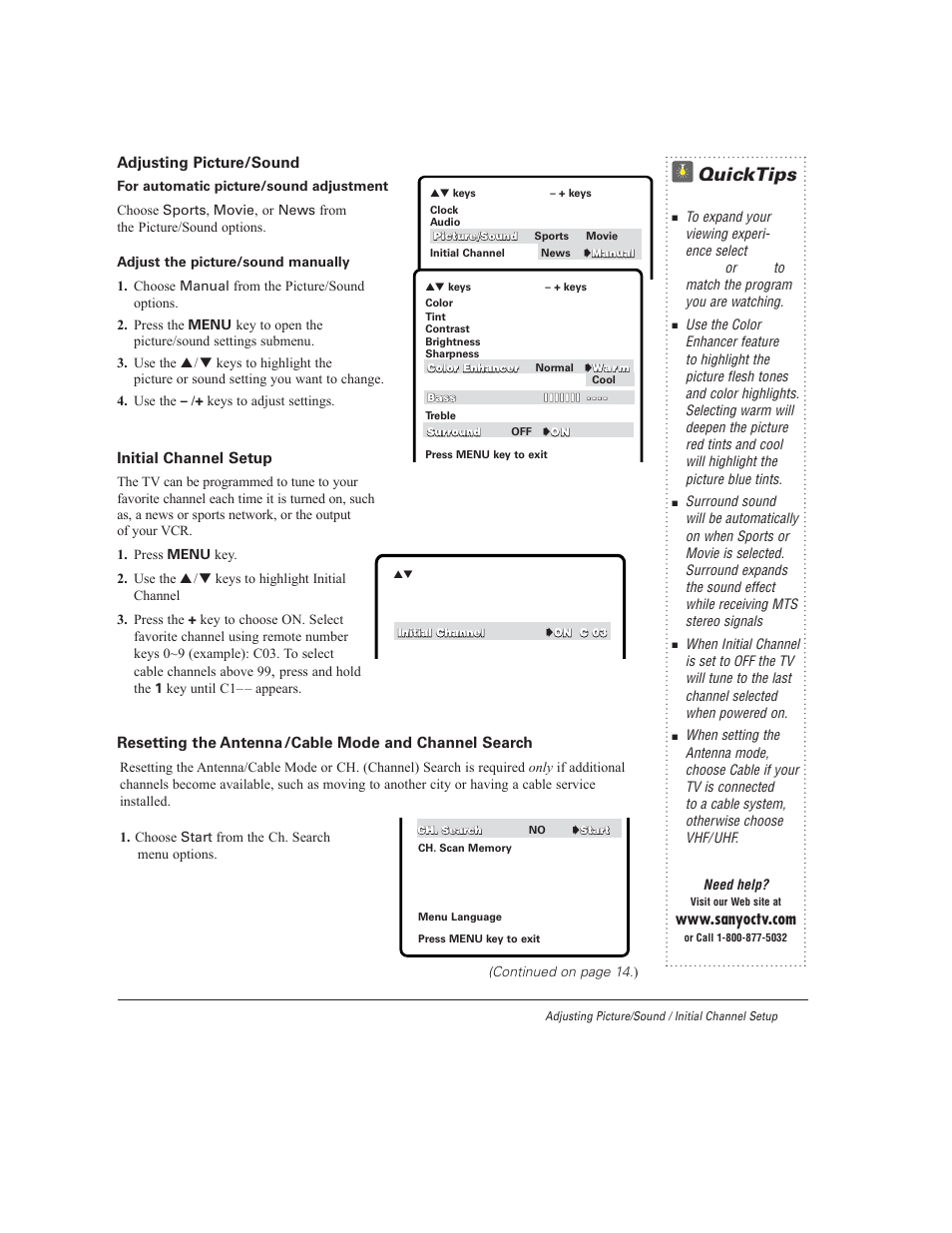 quicktips sanyo ds27930 user manual page 13 60 rh manualsdir com Sanyo 40 Inch LED TV Sanyo TV Model Numbers