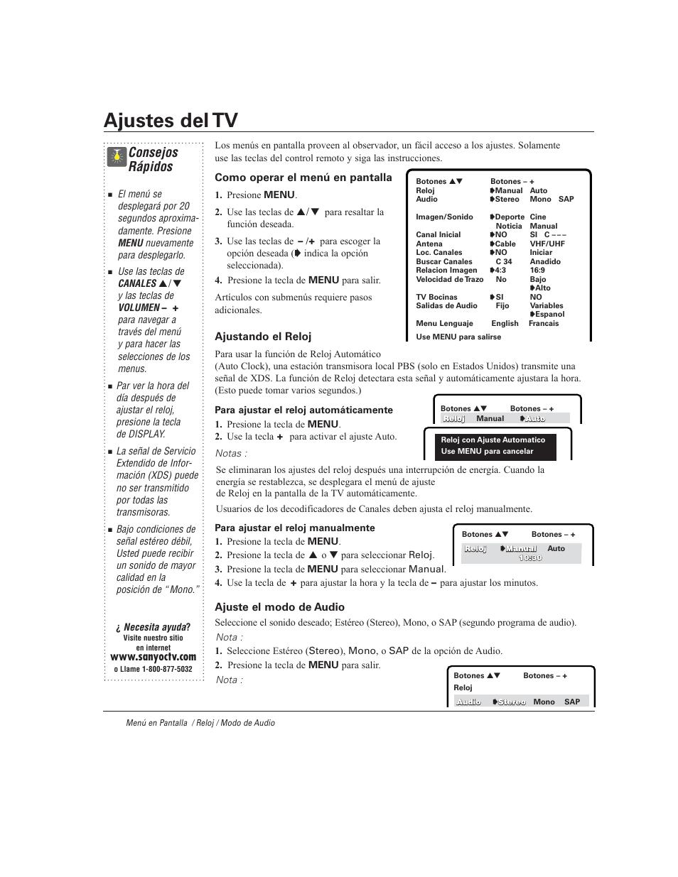 ajustes del tv consejos r pidos sanyo ds27930 user manual page rh manualsdir com Sanyo Model DP42841 Sanyo Model Numbers