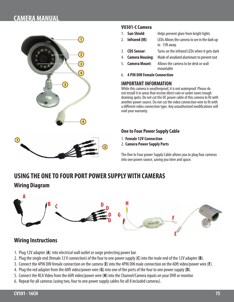 Camera Manual Wiring Diagram Instructions Svat Electronics Electrical Diagrams Video Cv501 16ch User Page 75 78