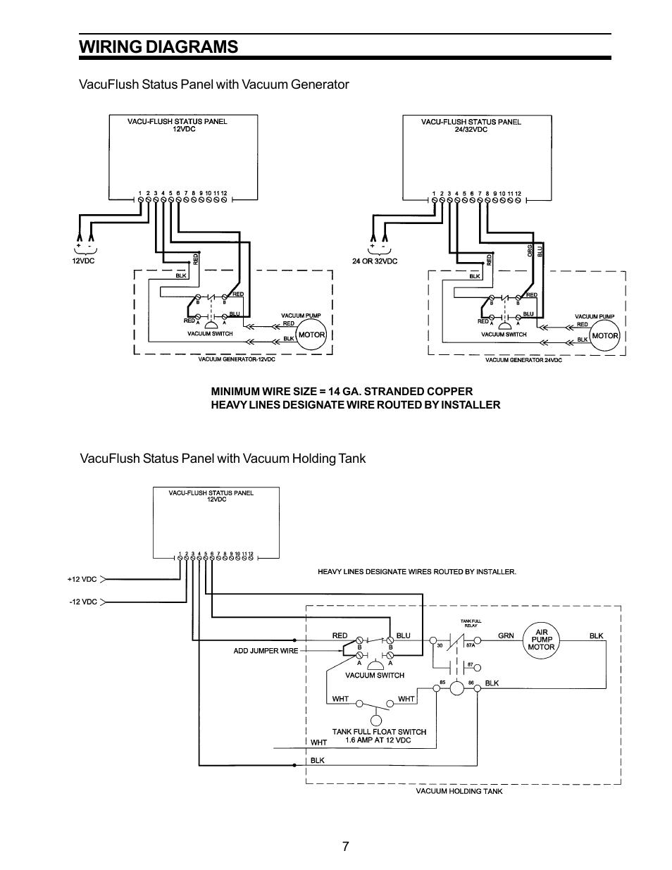 status panel with vacuum generator status panel with vacuum holding tank wiring diagrams