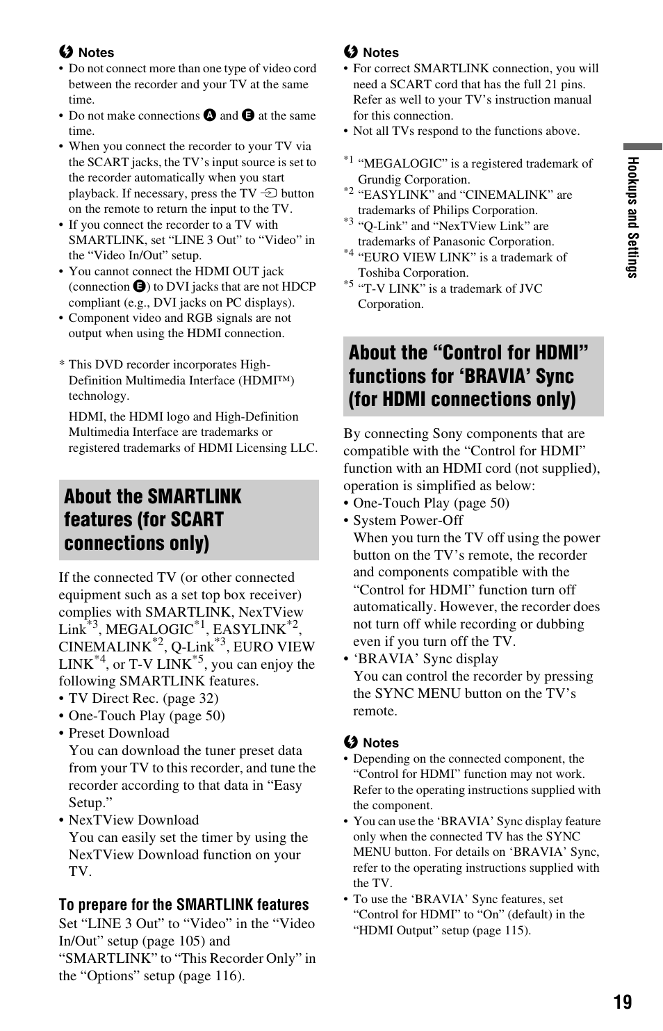 For hdmi connections only) | Sony RDR-HX680 User Manual | Page 19 / 140