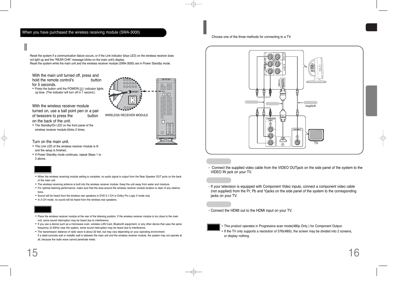 Connecting the video out to tv, Resetting wireless