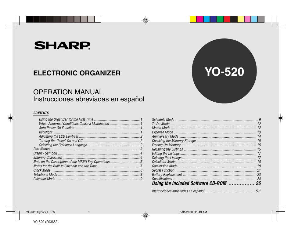 Sharp YO-520 User Manual | 40 pages