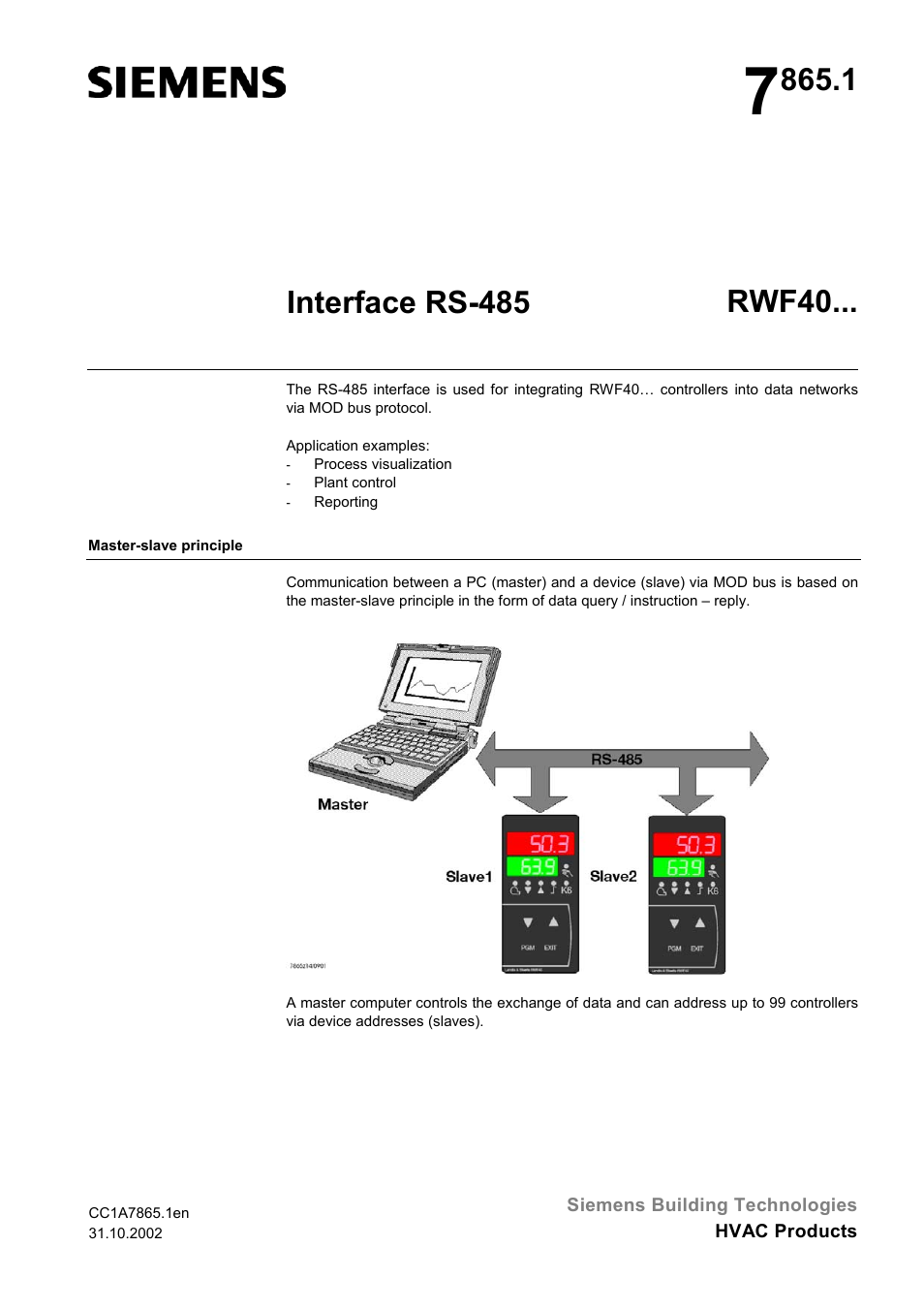 Siemens Rs 485 User Manual 14 Pages