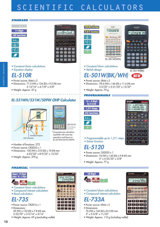 scientific calculators el 510r el 5120 sharp electronic rh manualsdir com Sharp EL 5510 Manual Sharp EL 738