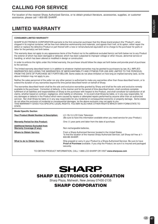 call sharp manual user guide manual that easy to read u2022 rh gatewaypartners co Sharp TV Owners Manual Sharp ER-A170