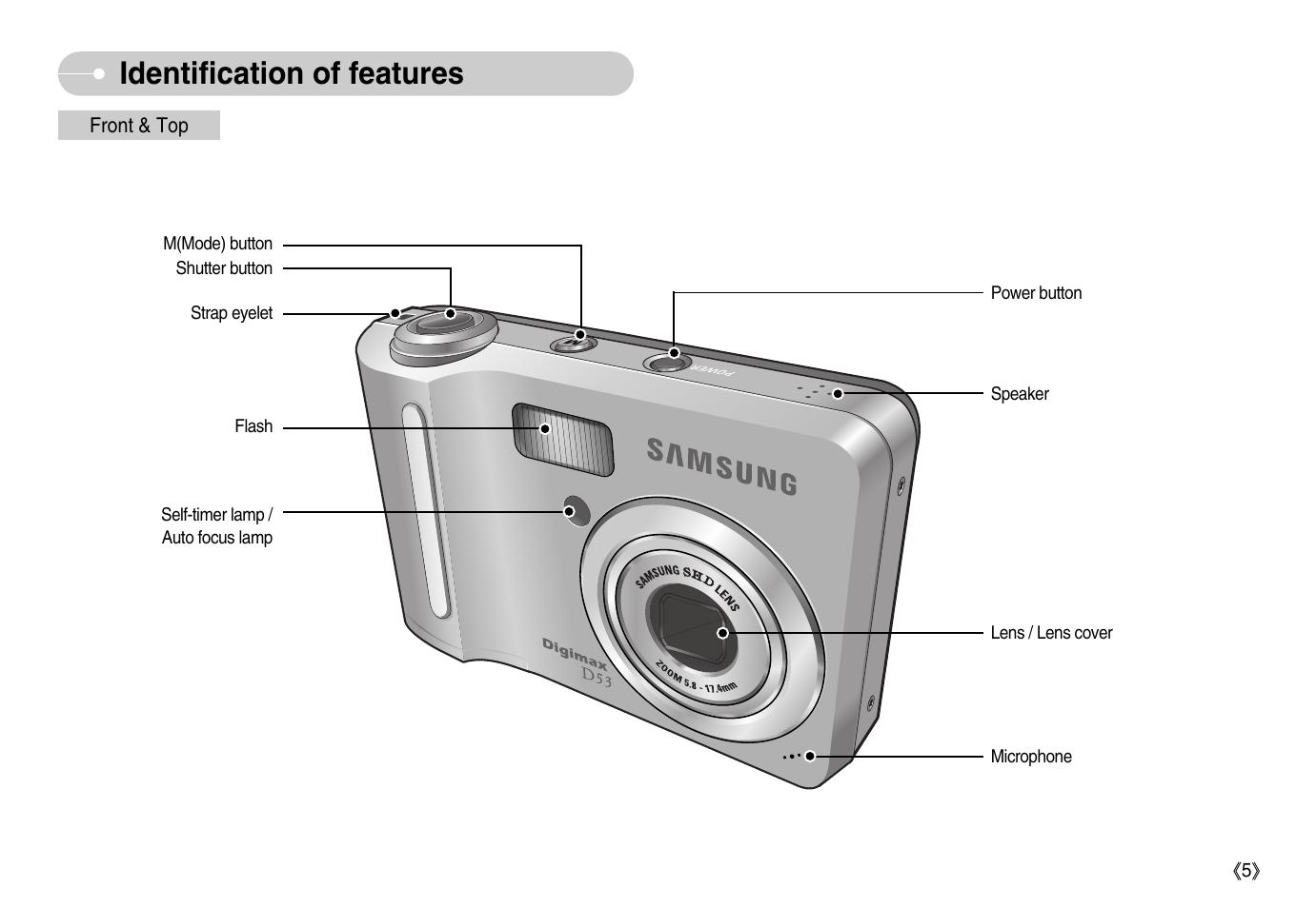 identification of features samsung digimax d53 user manual page rh manualsdir com Samsung Camera Samsung Digimax A6