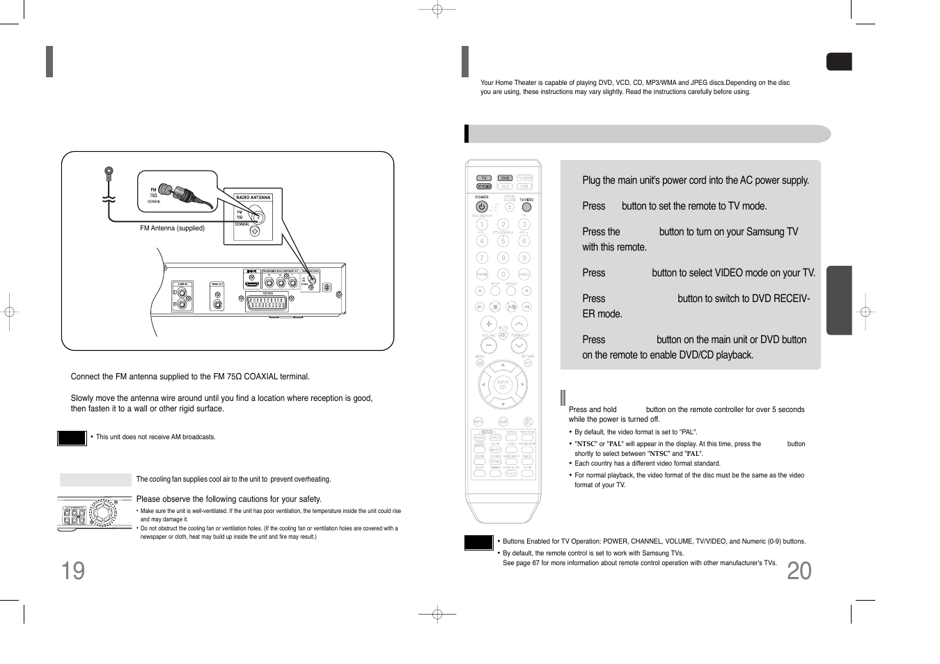 Connecting the fm antenna, Before using your home theater | Samsung