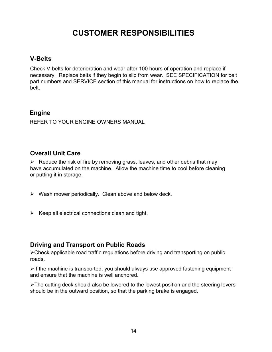 Customer responsibilities | Swisher ZT2560 User Manual