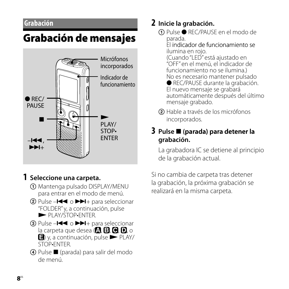 grabaci n grabaci n de mensajes sony icd px720 user manual page rh manualsdir com sony ic recorder icd px720 software download sony digital voice recorder icd-px720 software