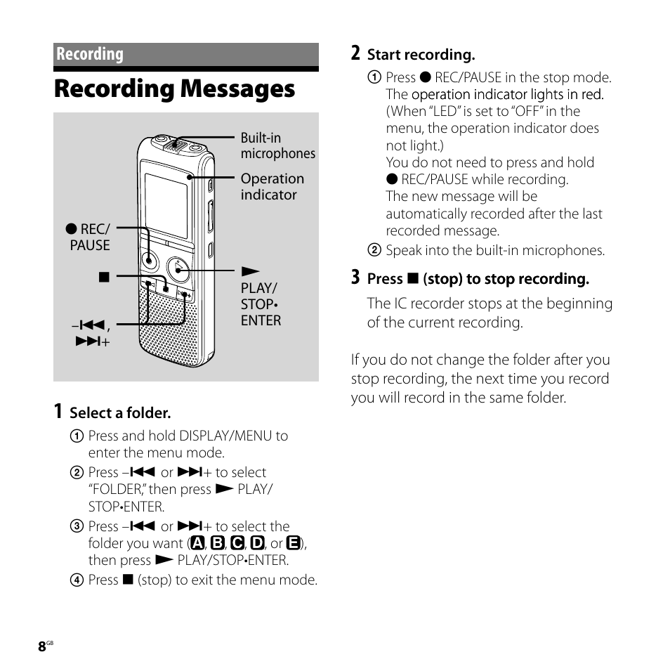 recording recording messages sony icd px720 user manual page 8 60 rh manualsdir com sony digital voice recorder icd-px720 software download sony ic recorder icd-px720 software
