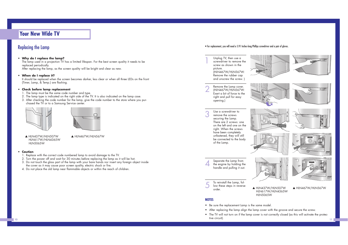 Your New Wide Tv Replacing The Lamp Samsung Ln437w User Manual Replacement Electric Circuit Page 6 46