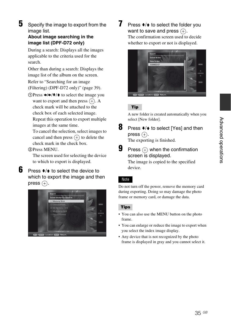 Sony S-FRAME DPF-A72/E72/D72 User Manual | Page 35 / 64 | Original mode