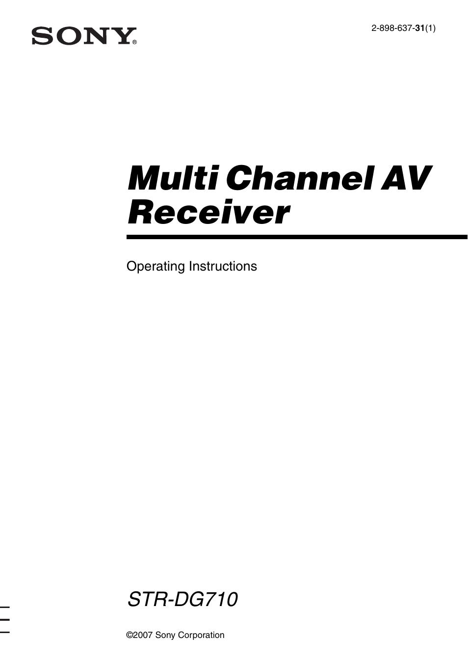 Sony Av Receiver Str Manual Guide