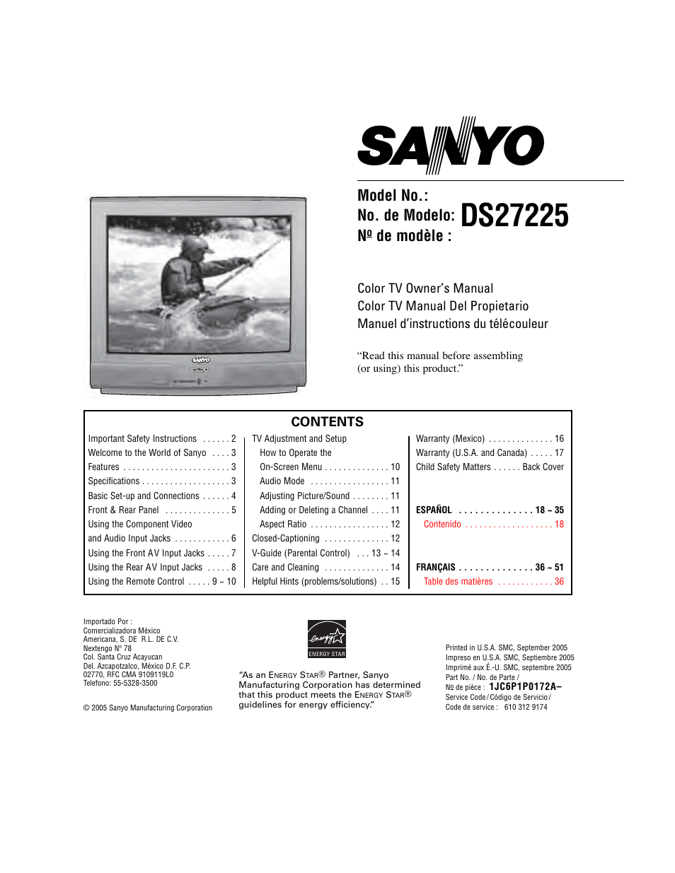 Sanyo DS27225 User Manual | 52 pages