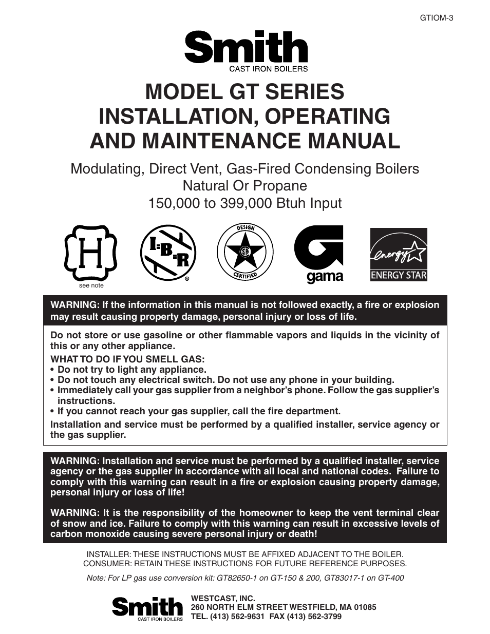 Smith Cast Iron Boilers GT Series User Manual | 44 pages