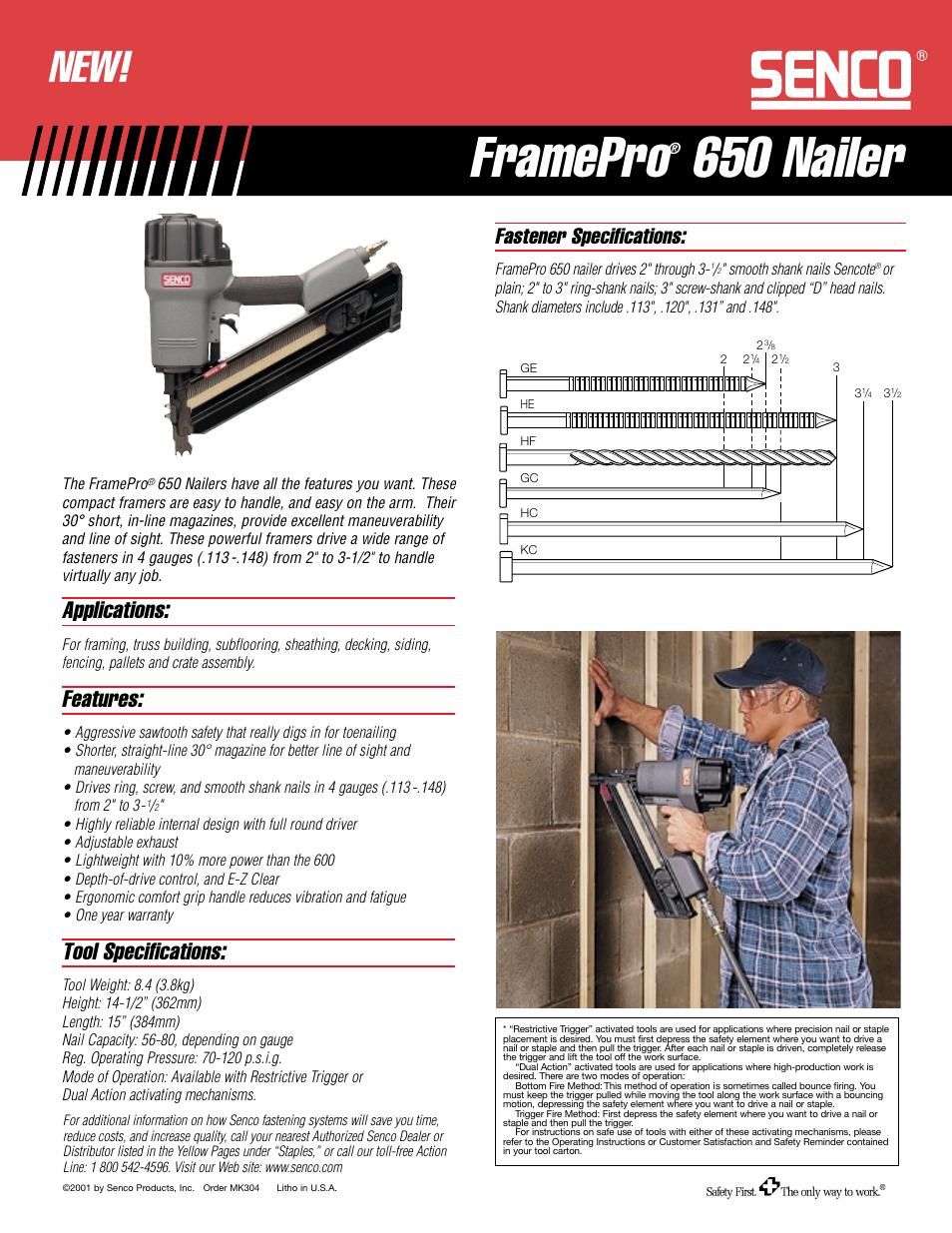Senco FramePro 650 User Manual | 1 page