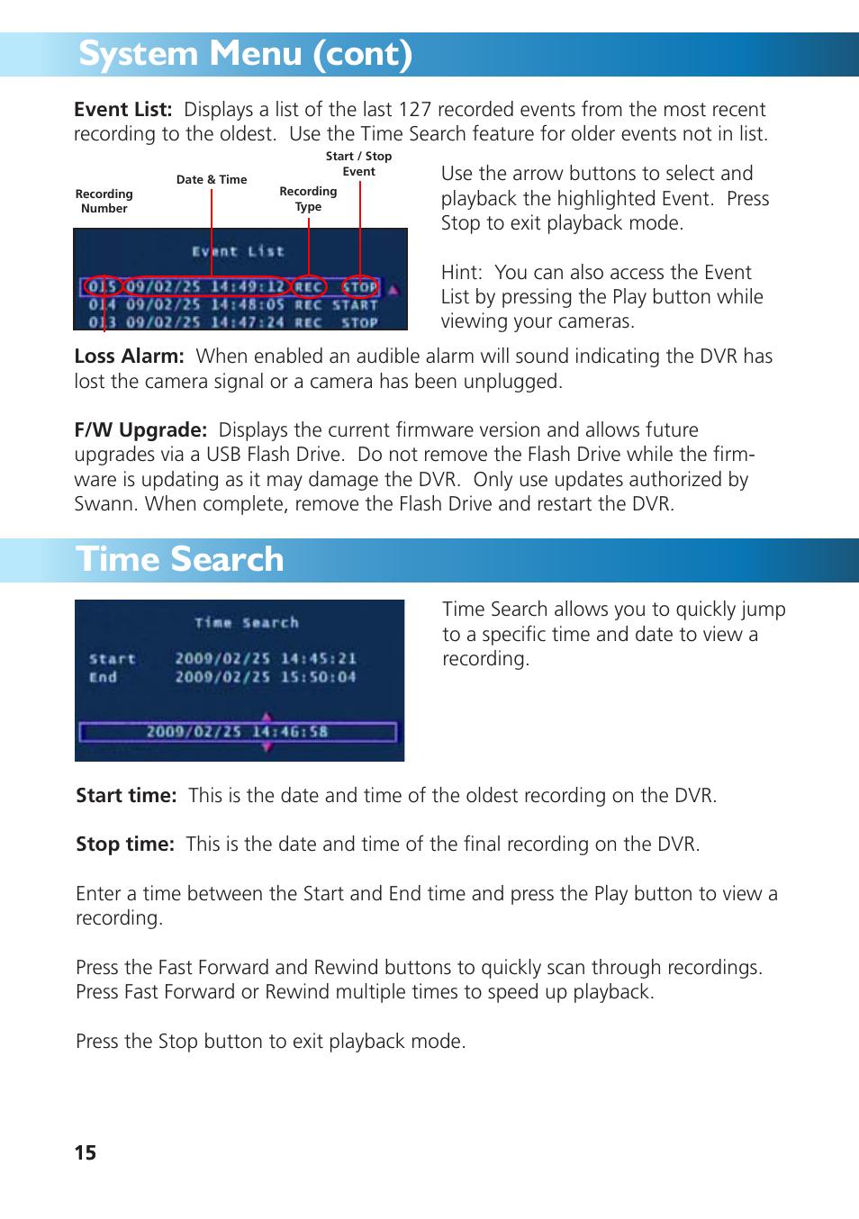 System menu (cont), Time search | Swann DVR4-950 User Manual