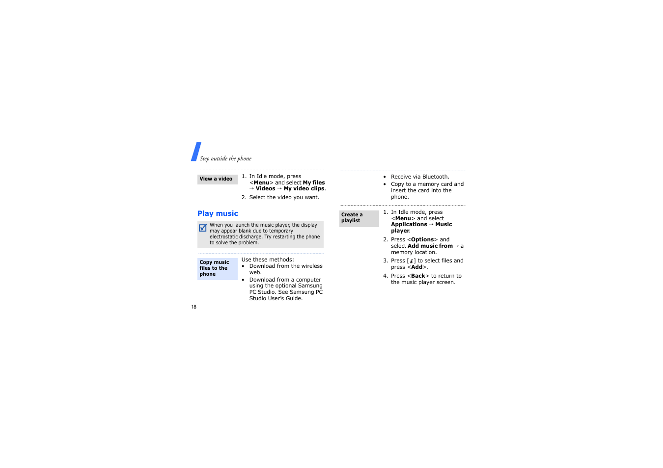 Play music | Samsung GH68-14886A User Manual | Page 21 / 46