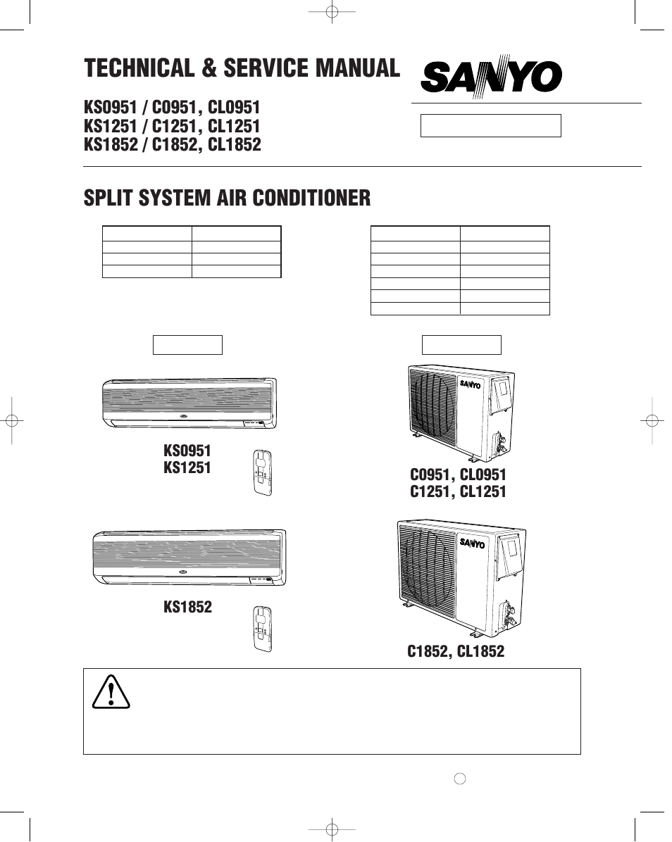 sanyo c0951 user manual 83 pages also for c1251 Wall Mounted Air Conditioner Sanyo Mini Split Service Manual